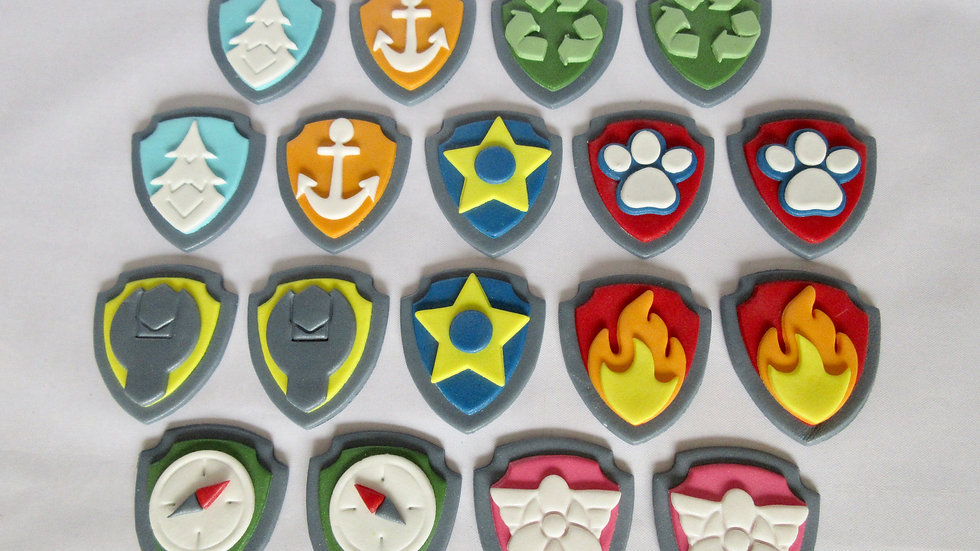 Paw Patrol shield badges cupcake toppers.