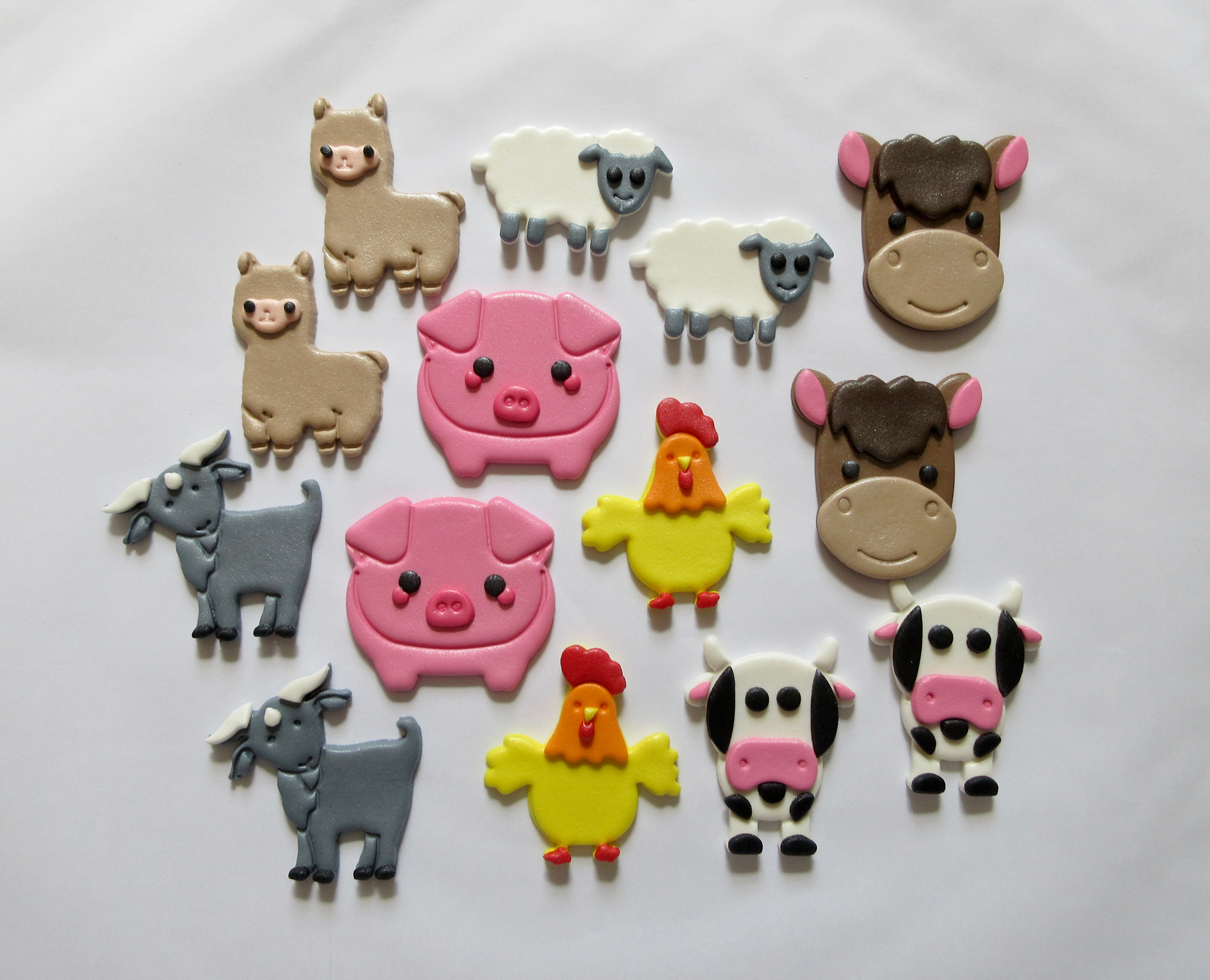 32x Zoo Wild Farm Animals Cupcake Toppers Edible Wafer Paper Fairy Cake Toppers
