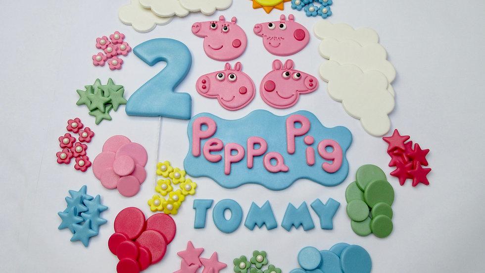 Peppa Pig Cake Topper Edible. Personalised Peppa Pig Cake Decorations.