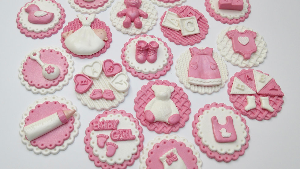 It's a girl cupcake toppers. Edible baby shower cupcake toppers.