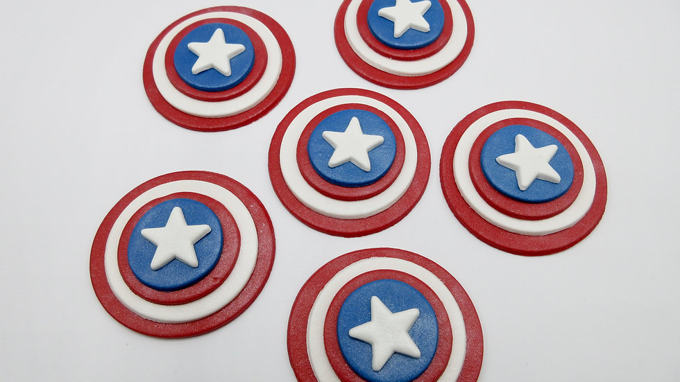 Edible Captain America  Cupcake Toppers