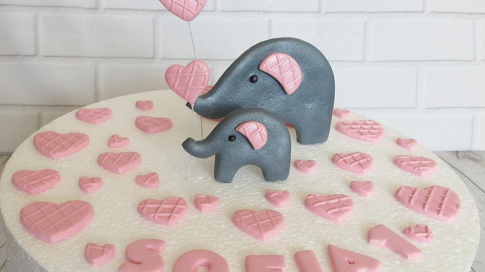 Mummy & Baby elephant edible cake topper.