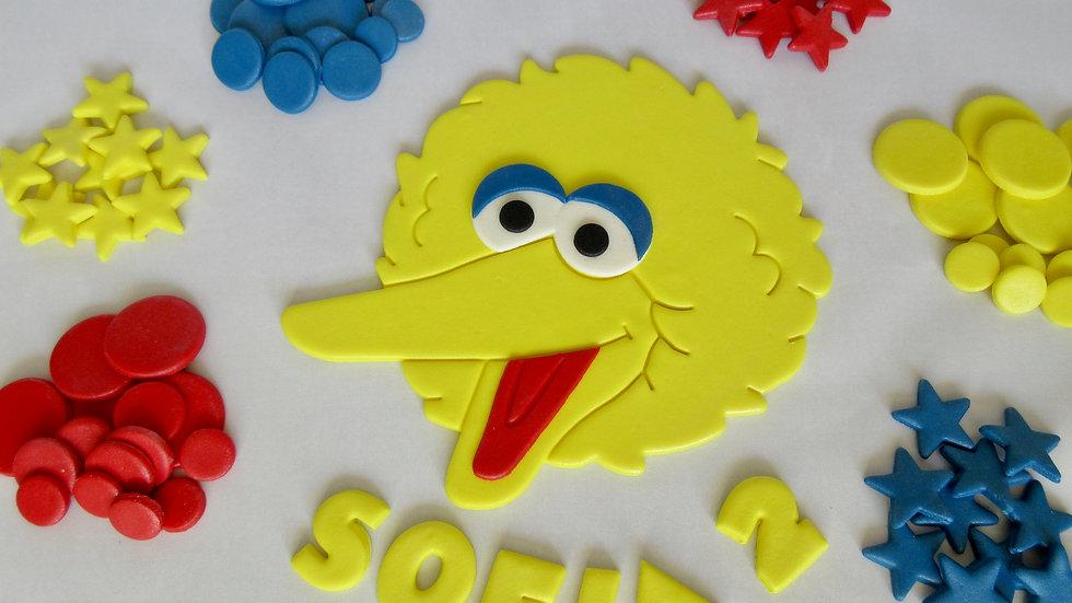 Big Bird Sesame Street edible cake topper.