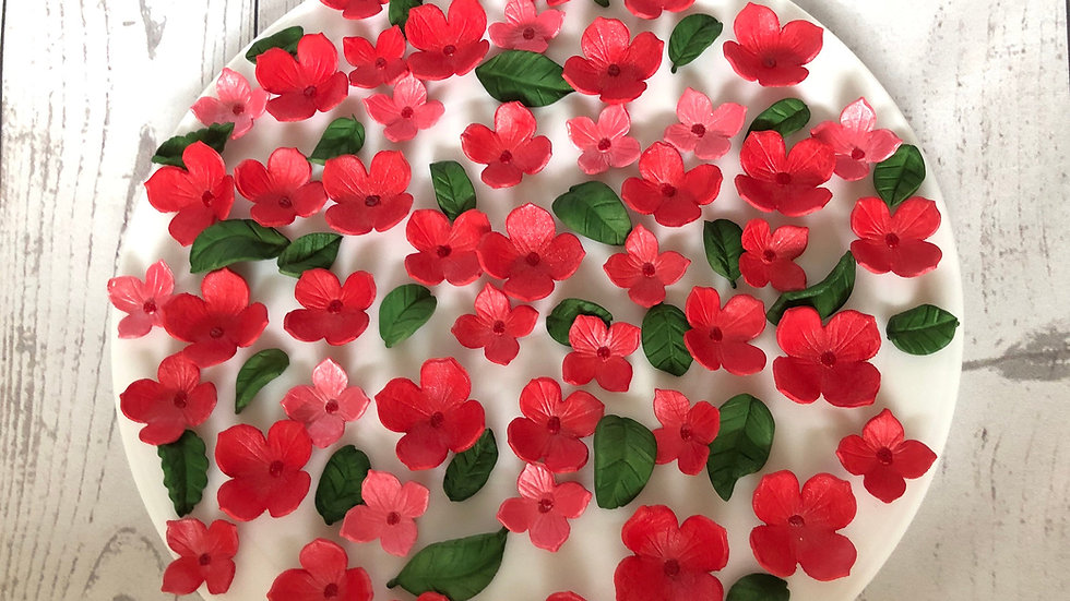 Edible red hydrangeas fondant flowers.