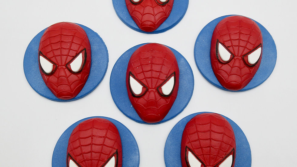 Edible Spiderman Fondant Sugar paste  Cupcake Toppers