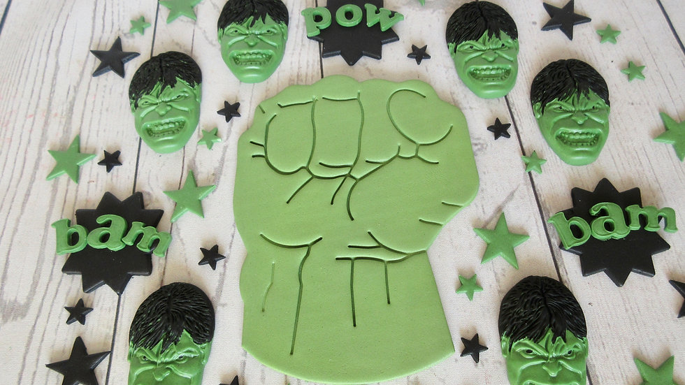 Hulk edible cake topper.