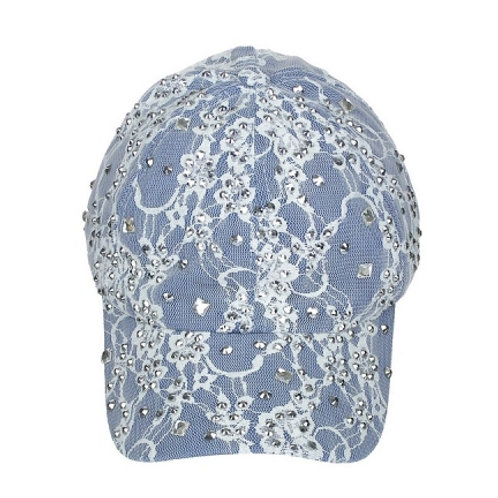 Blue ball cap with white lace overlay