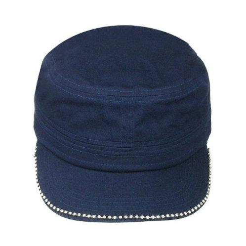 Military cap with rhinestone edge