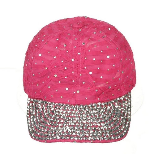 Light weight ball cap with bling brim