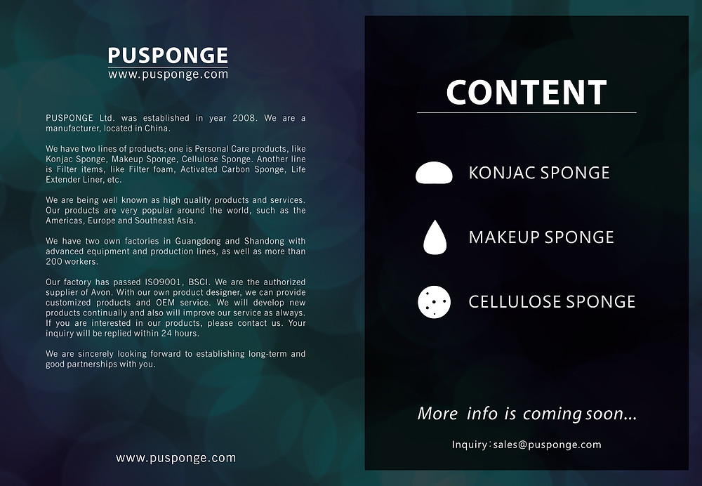 PUSPONGE makeup sponge supplier product catalog cover