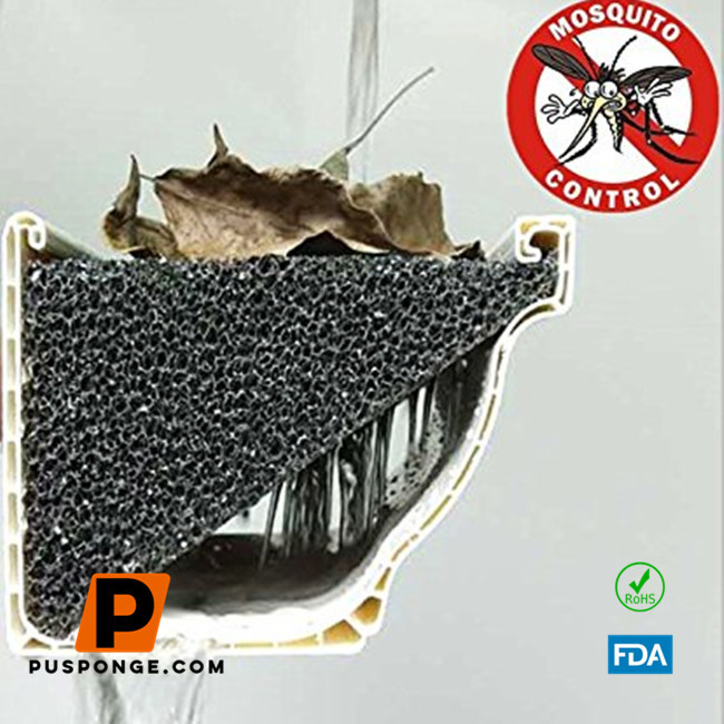 Gutter filter foam stops mosquitoes from breeding in your gutters