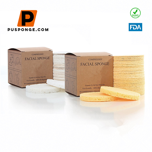 compressed facial sponges Natural Cellulose Sponge