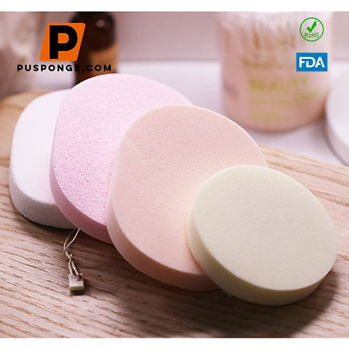 Eco-Friendly Ellipse Shaped Cosmetic PVA Beauty Facial Cleaning Sponge