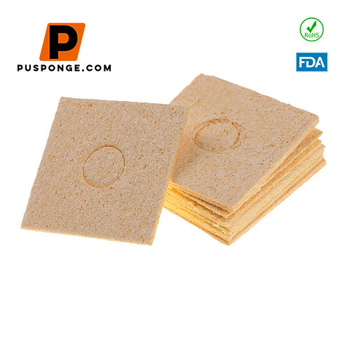 Compressed soldering tip cleaning sponge