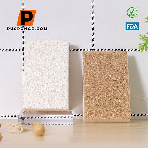 Zero Waste Non-Scratch Natural Cellulose Sponges with Sisal Fiber Scrub Side