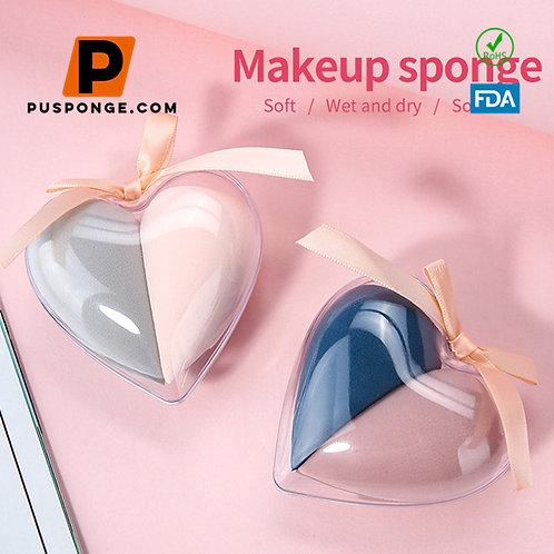 Miter design 360° makeup and docile makeup sponge2 PCS in heart-shaped box