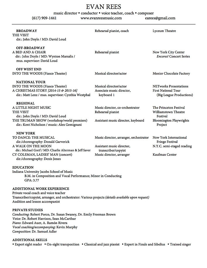 Evan Rees Music – Music Resume