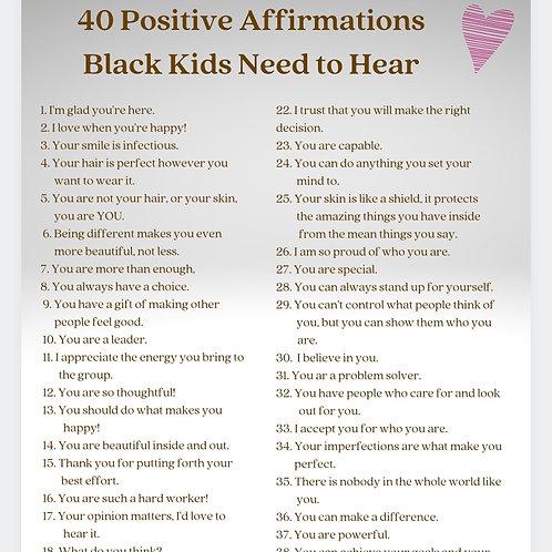 40 Positive Affirmations for Black Children Poster