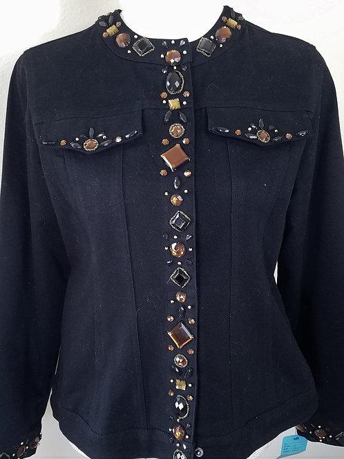 Laura Ashley Black Denim Jacket with Bling, Size S