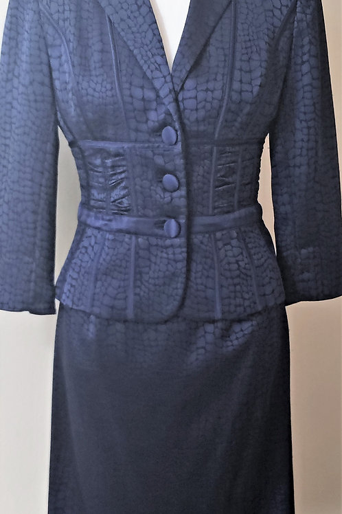 Kay Unger Navy Suit, Size 4, SOLD