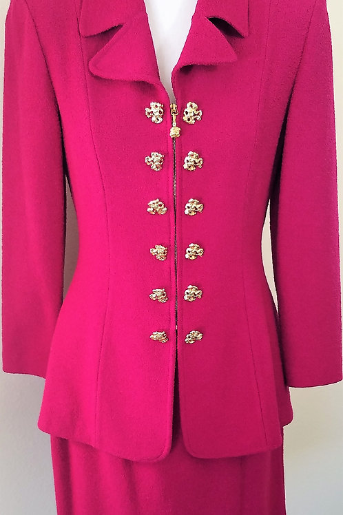 St. John Collection Magenta Suit, Size 4    SOLD