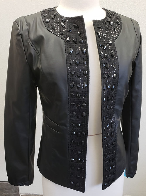 ? Brand Pleather Jacket w/Beading, Size 6, NWT check measurements