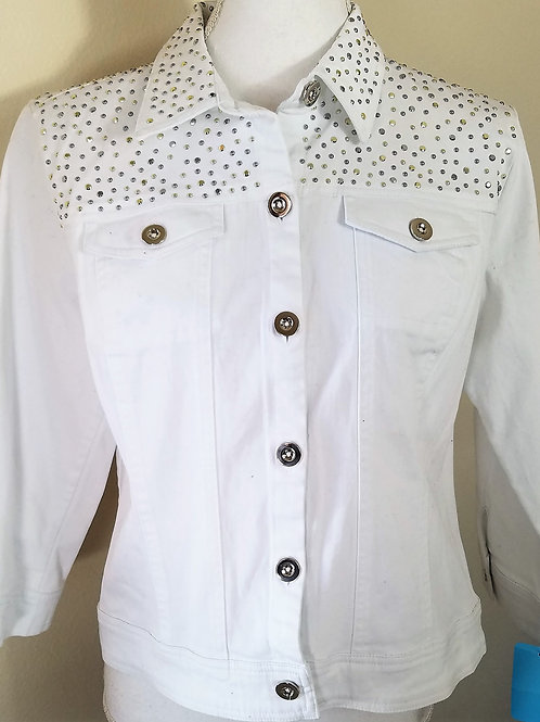 Joan Rivers White Denim Jacket, Size S    SOLD