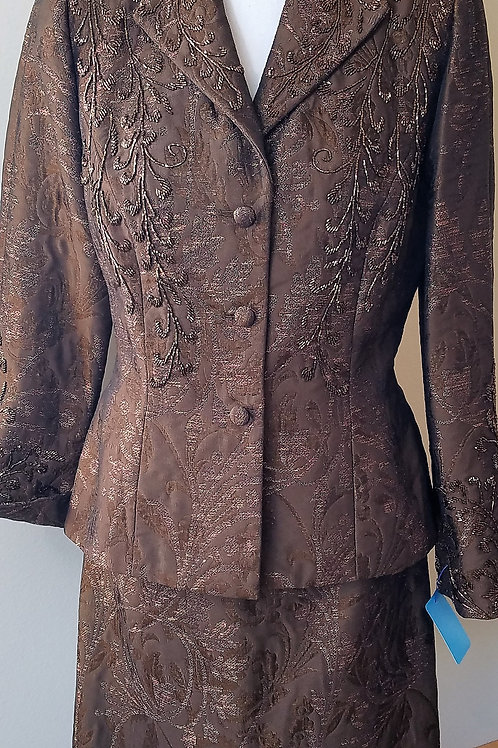 Carmen Marc Valvo Chocolate Beaded Suit, Size 10  SOLD