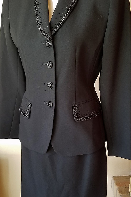 Kasper Black Beaded Suit, Size 6P SOLD