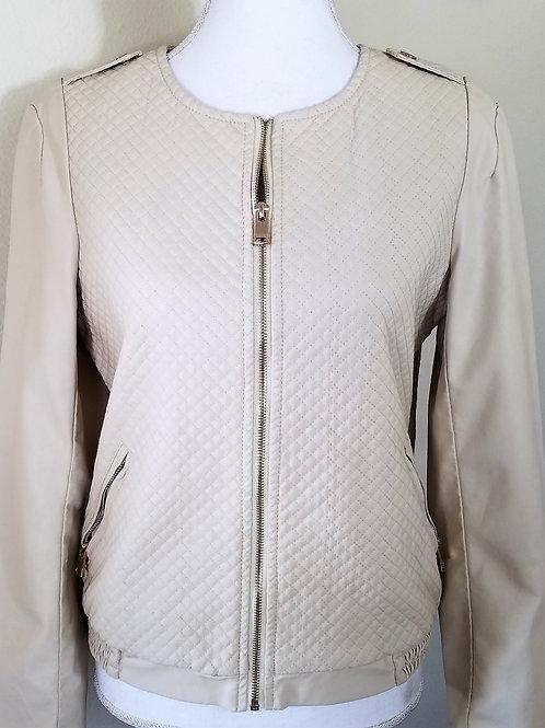 Forever 21 Ivory Pleather Jacket, Size M
