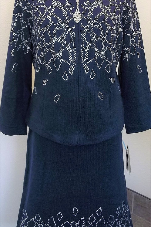 Elite Navy Knit Suit, NWT, Size 14    SOLD