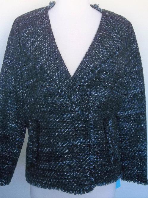 Talbots Blk/Blue Tweed Blazer, Size 12