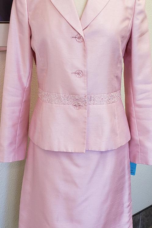 Kasper Pastel Beaded Pink Suit, Size 8
