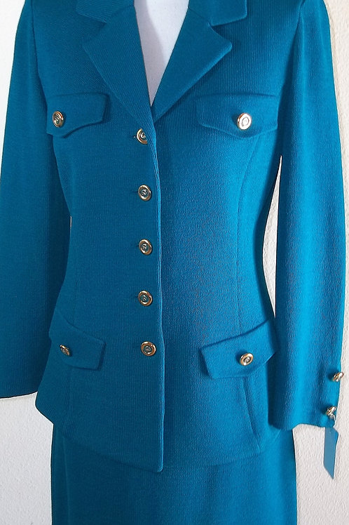 St. John Collection Teal Suit, Size 4    SOLD