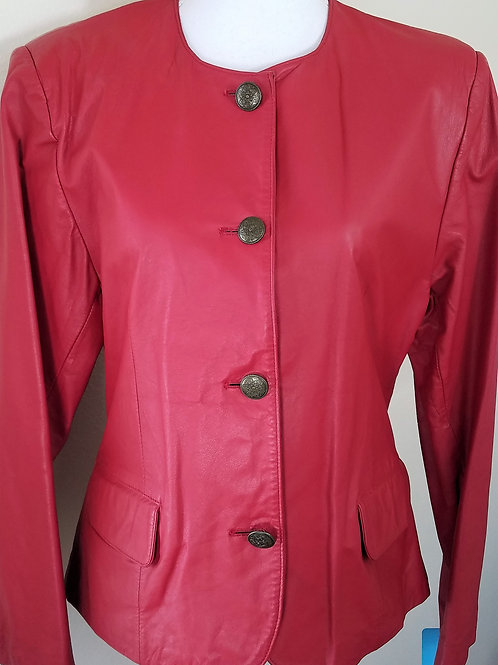 J.F.S. Red Leather Jacket, Size M