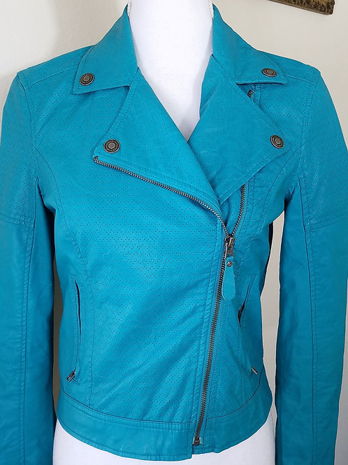 Pretty Little Liars Teal Pleather Jacket, Size S/P