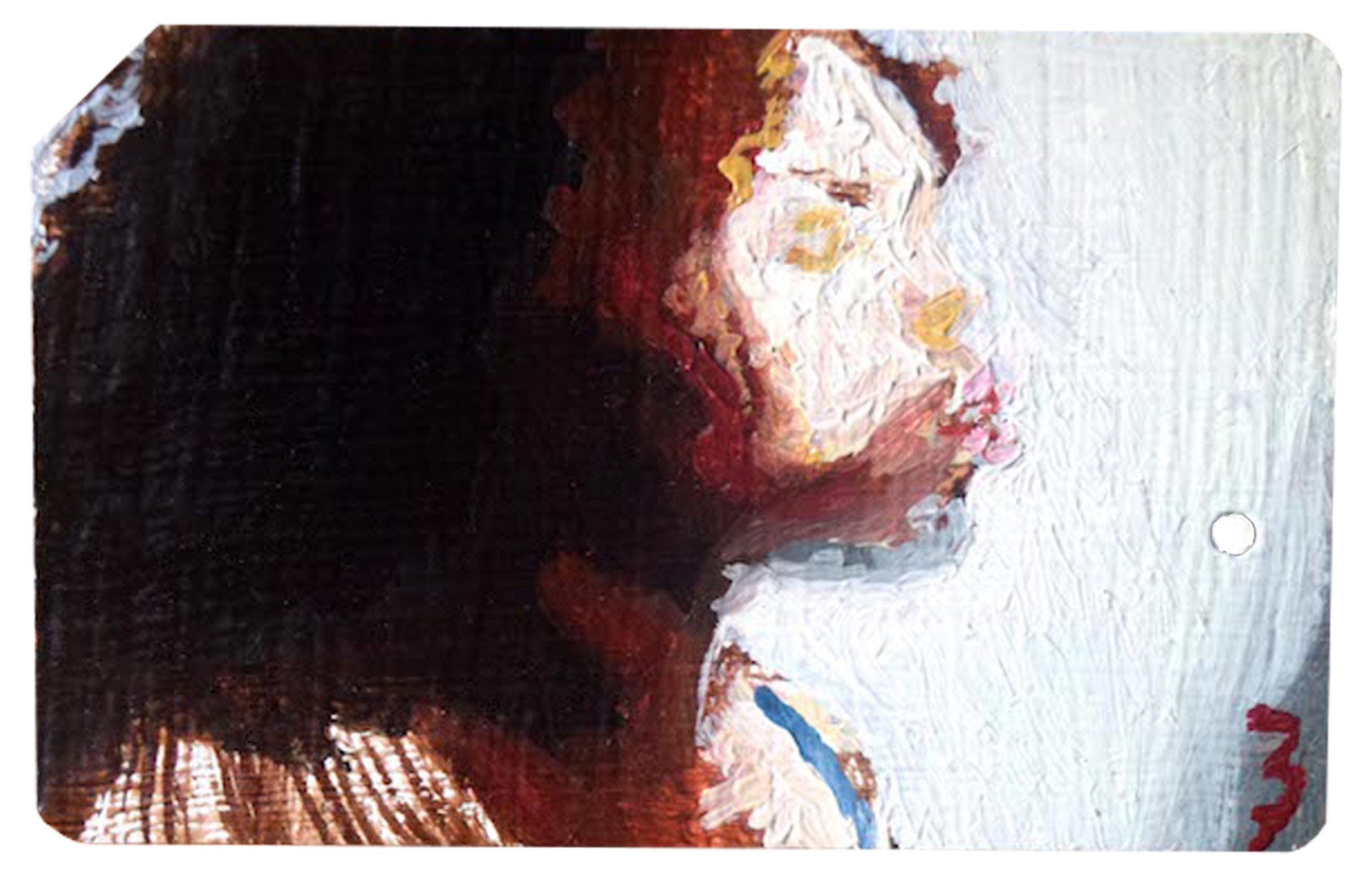 Highlight_ Oil on NYC MetroCard_ 2.1 x 3