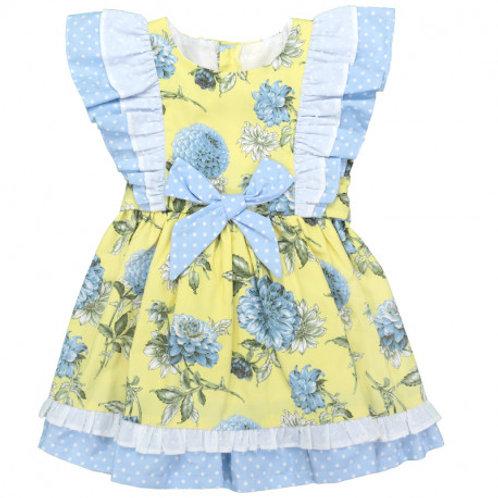 Baby Ferr Lemon & Blue Floral Dress | 18m