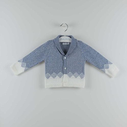 Martin Aranda Blue Diamond Knit Cardigan | 12m