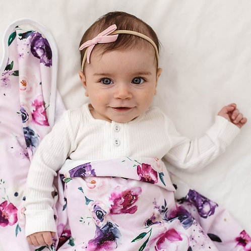 Baby Girl wearing Snuggle Hunny Velvet Bow Headband Rose Pink