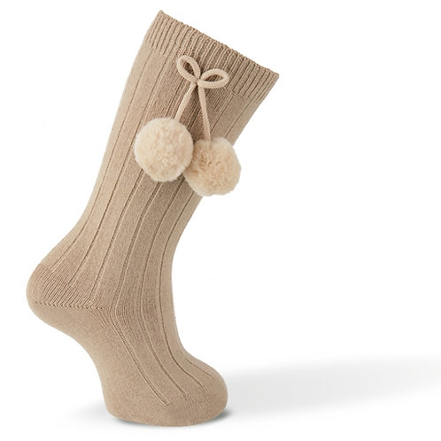 Carlomagno 2341 Camel Ribbed Pom Pom Knee High Sock