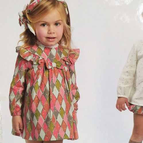 Cocote Pink & Green Geometric Dress | 24m