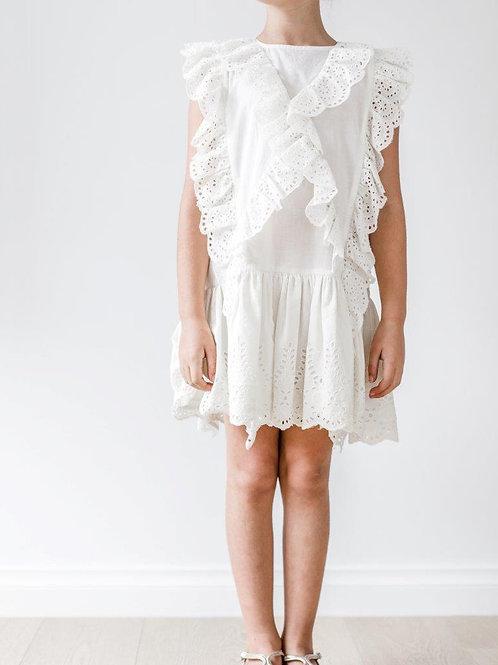 Petite Amalie Drop Waist Broderie Dress