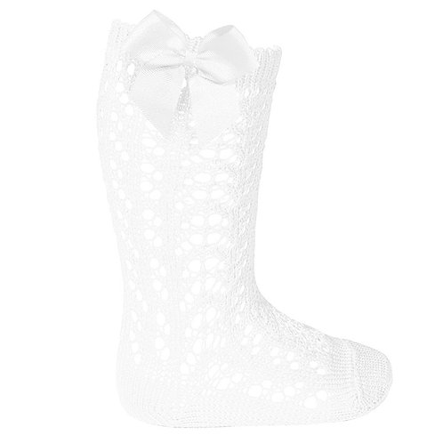 Condor 2519/2 White Bow Openwork Knee High Sock