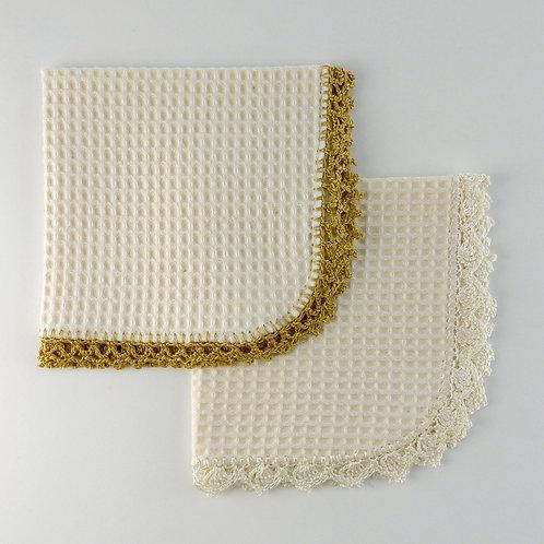 Cream Waffle Burp Cloth with Crochet Edging Unisex Colours