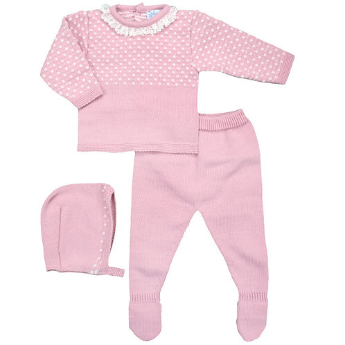 Spanish Dulce de Fresa Pale Pink Knitted 3 Piece Set