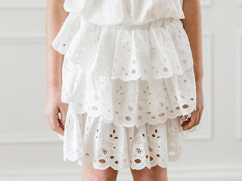 Petite Amalie White Layered Skirt