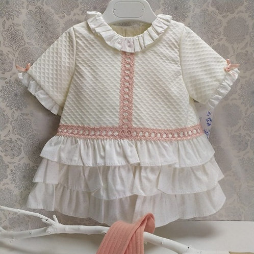 Yoedu Cream w/ Pink Detail Ruffle Dress | 18m
