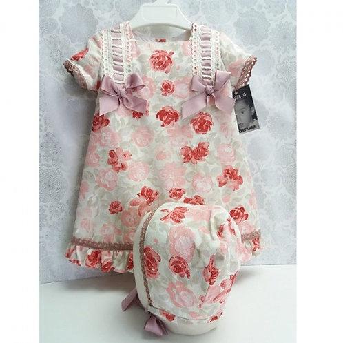 Maria G Montaner Pink Floral Dress & Bonnet | 24m
