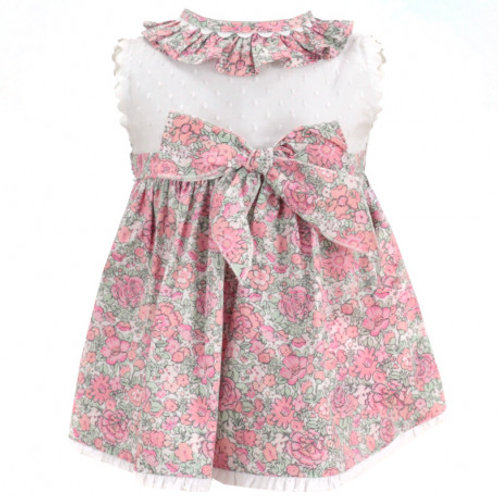 Spanish Dulce de Fresa Pink & Green Floral with White Bodice Dress